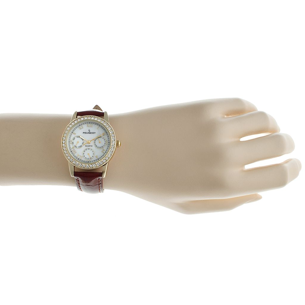 Peugeot Women's Mother-of-Pearl Crystal Leather Watch - 3025