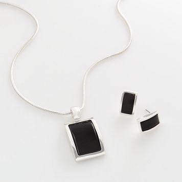 Silver Tone Square Pendant & Drop Earring Set
