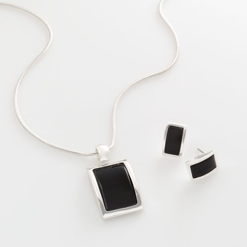 Croft & Barrow® Silver Tone Square Pendant and Drop Earring Set