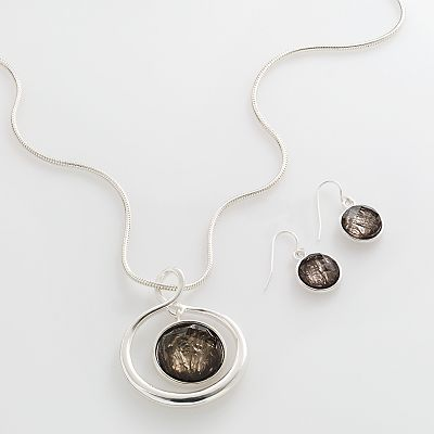 Croft and Barrow Silver-Tone Circle Pendant and Drop Earring Set