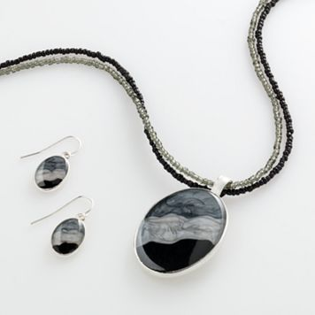 Silver Tone Pendant & Drop Earring Set