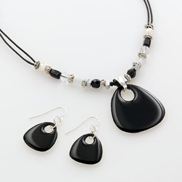 Silver Tone Pendant & Drop Earring Set