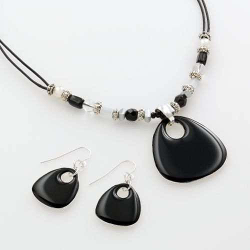 Croft & Barrow® Silver Tone Pendant and Drop Earring Set