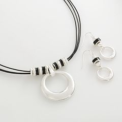 Silver Tone Circle Pendant & Drop Earring Set