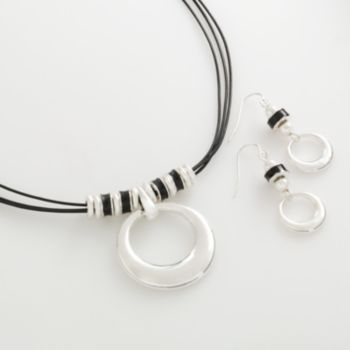 Silver Tone Circle Pendant and Drop Earring Set