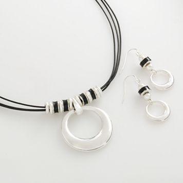 Silver Tone Circle Pendant & Drop Earring Set