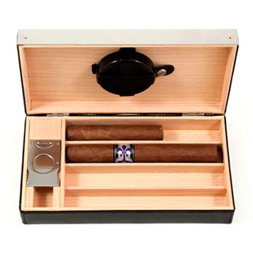 Leather Cigar Humidor & Cutter Set