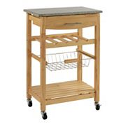 Linon Bamboo Granite-Top Kitchen Island