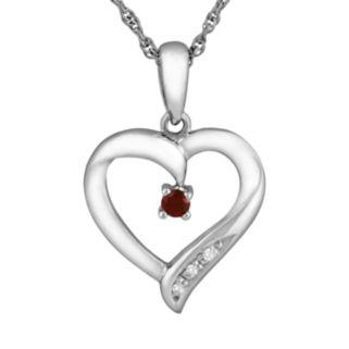 Sterling Silver Mozambique Garnet Heart Pendant