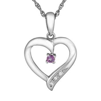 Sterling Silver Amethyst Heart Pendant