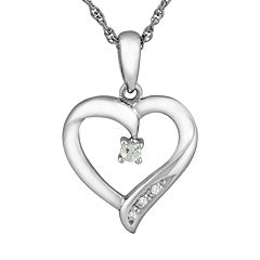 Sterling Silver Aquamarine Heart Pendant