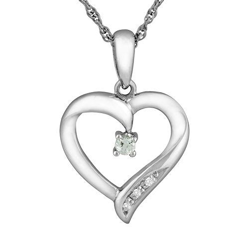Sterling Silver Aquamarine Heart Pendant