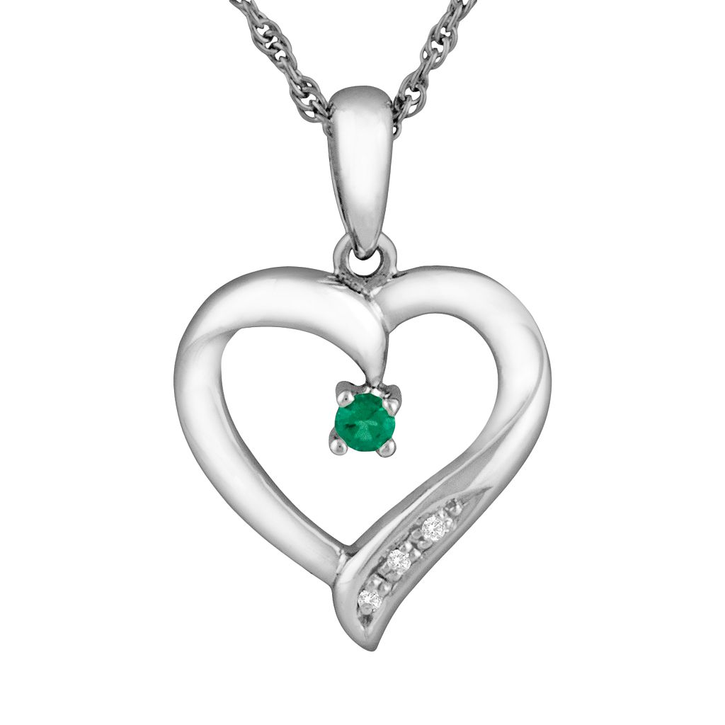 Sterling Silver Lab-Created Emerald & Cubic Zirconia Heart Pendant