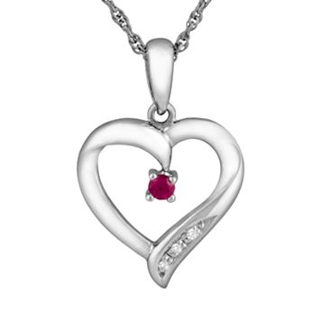Sterling Silver Lab-Created Ruby Heart Pendant