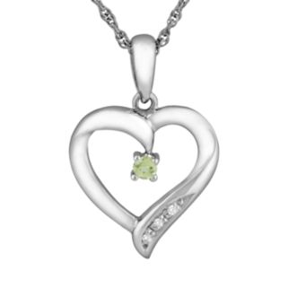 Sterling Silver Peridot Heart Pendant