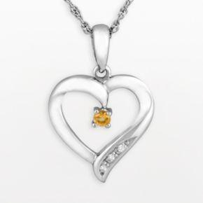 Sterling Silver Citrine Heart Pendant