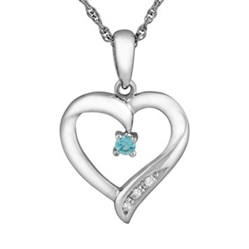 Sterling Silver Swiss Blue Topaz Heart Pendant