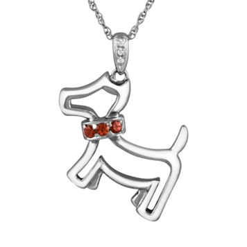 Sterling Silver Garnet & Diamond Accent Dog Pendant
