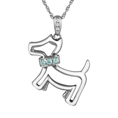 Sterling Silver Aquamarine and Diamond Accent Dog Pendant
