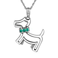 Sterling Silver Lab-Created Emerald & Diamond Accent Dog Pendant