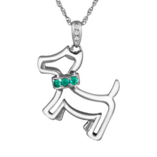Sterling Silver Lab-Created Emerald and Diamond Accent Dog Pendant