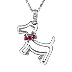 Sterling Silver Lab-Created Ruby & Diamond Accent Dog Pendant
