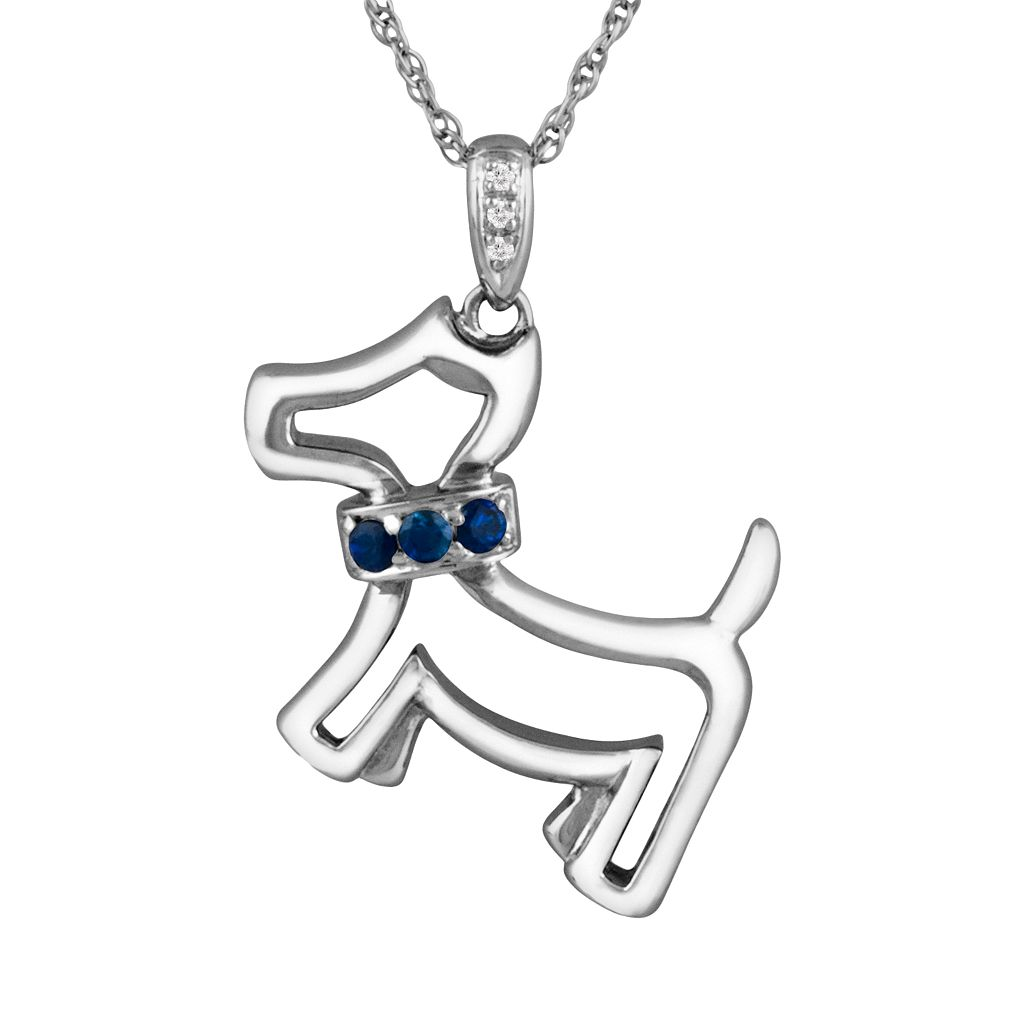 Sterling Silver Lab-Created Sapphire & Diamond Accent Dog Pendant