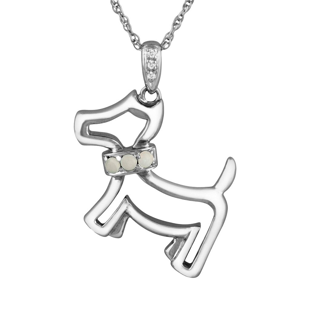 Sterling Silver Opal & Diamond Accent Dog Pendant