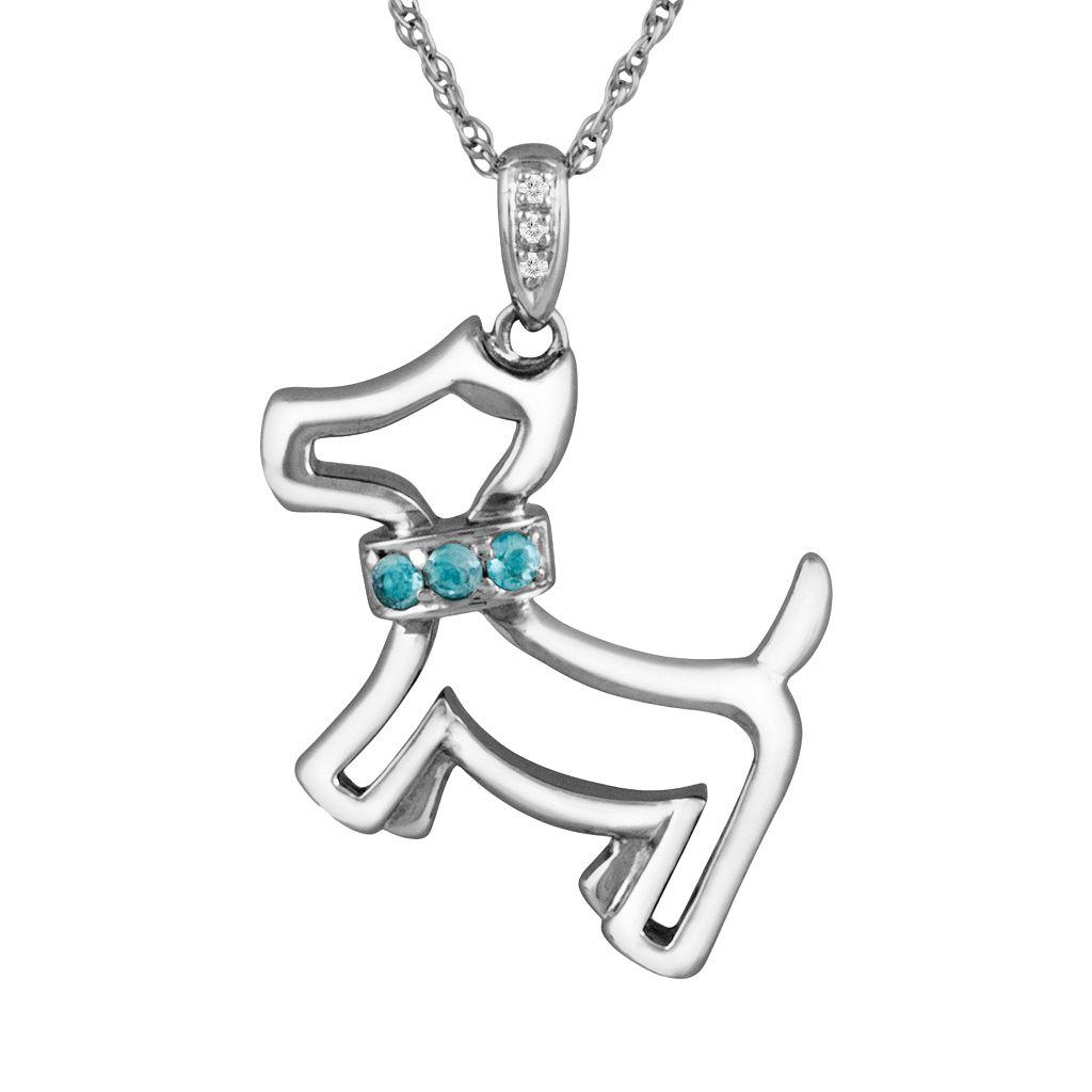 Sterling Silver Swiss Blue Topaz & Diamond Accent Dog Pendant