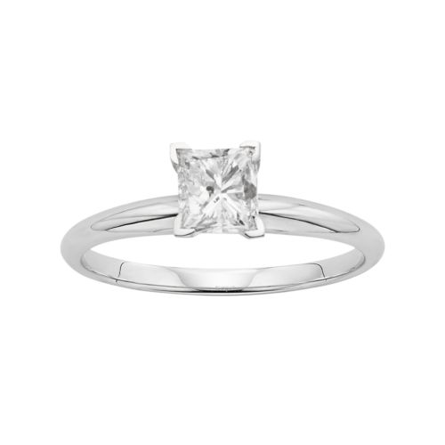 Princess-Cut Certified Diamond Solitaire Engagement Ring in 14k White Gold (1-ct. T.W.)