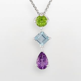 Sterling Silver Amethyst, Peridot and Blue Topaz Pendant