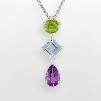 Stella Grace Sterling Silver Amethyst, Peridot and Blue Topaz Pendant