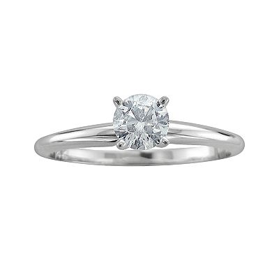 14k White Gold 1/2-ct. T.W. Certified Round-Cut Diamond Solitaire Ring