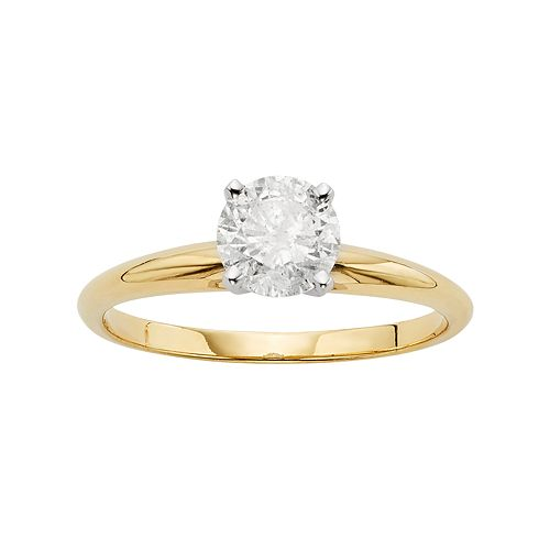 Round-Cut Certified Diamond Solitaire Engagement Ring in 14k Gold (1-ct. T.W.)