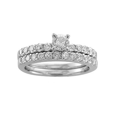 14k White Gold 1-ct. T.W. Certified Round-Cut Diamond Ring Set