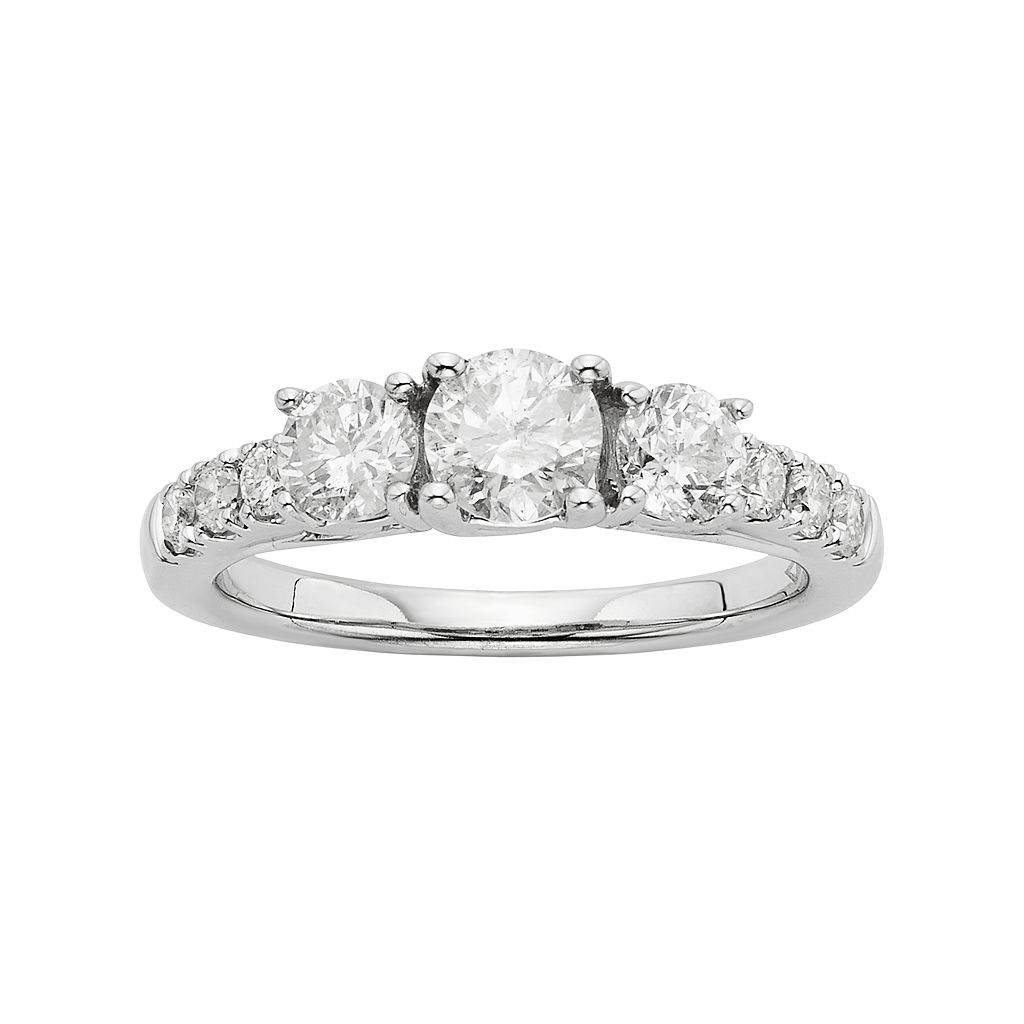 Round-Cut Certified Diamond Engagement Ring in 14k White Gold (1 1/2 ct. T.W.)