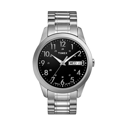 Timex men 39 s stainless steel expansion watch t2m932 9j for Watches kohls