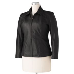 Plus Size Excelled Fitted Leather Scuba Jacket