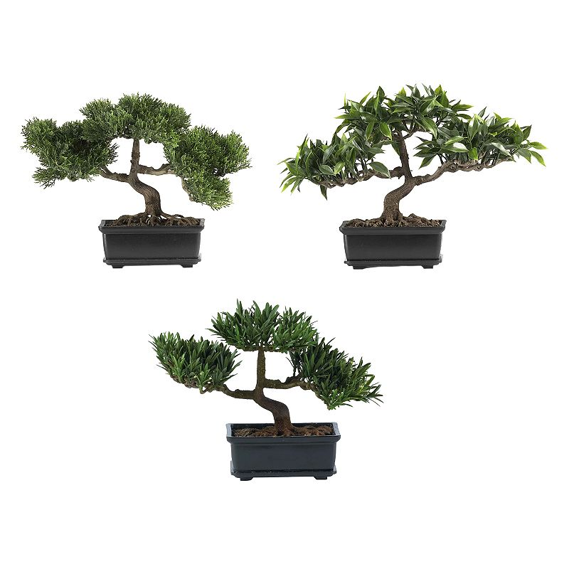 nearly natural 3-pc. Silk Bonsai Tree Set These bonsai trees bring unique appeal to any room. Lush leavesandbonsai trunkslend an authentic look. Decorativeplantersprovide a warm,modern touch. What's Included: Cedar bonsai Japanese ficus bonsai Podocarpus bonsai 3-piece set 12W x 8 1/2H (each) Planters: 4H x 2 1/2W x 6L Silk/ceramic Wipe clean  Size: One Size. Color: Multicolor. Gender: unisex. Age Group: adult.
