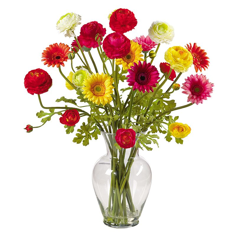 nearly natural Silk Gerbera and Ranunculus Flower Arrangement Bright gerbera daisies and ranunculus add a cheery touch. Classic vase and artificial water lend realistic charm. 24-in. height Vase: 6 1/2W x 10 1/2H Silk/glass Wipe clean  Size: One Size. Color: Multicolor. Gender: unisex. Age Group: adult.