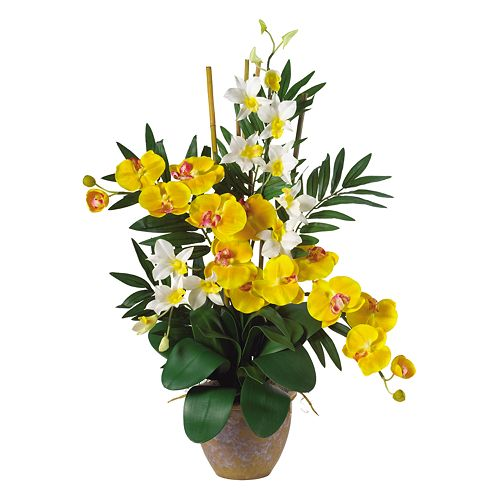 Nearly Natural Silk Phalaenopsis And Dendrobium Orchid Arrangement $ 43.99