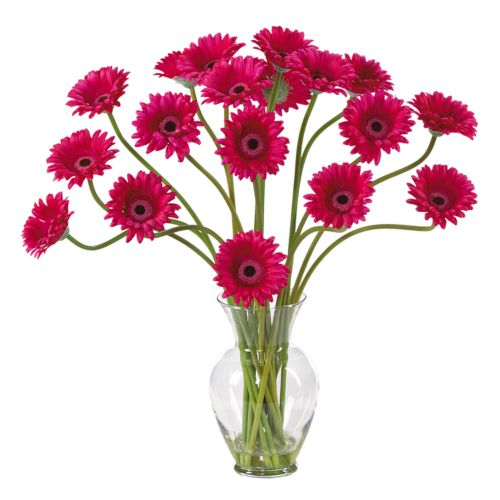 nearly natural Liquid Illusion Silk Gerber Daisy Floral Arrangement