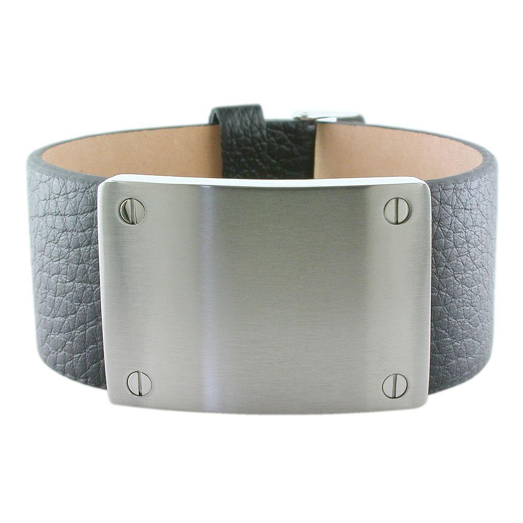 LYNX Stainless Steel & Leather Bracelet