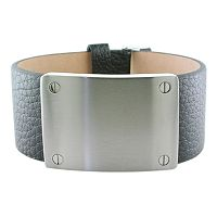 LYNX Stainless Steel & Leather Bracelet