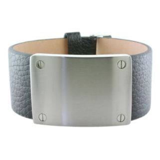 LYNX Stainless Steel and Leather Bracelet
