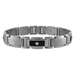 LYNX Stainless Steel 1/10 ctT.W. Diamond & Carbon Fiber Bracelet