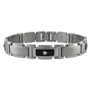 LYNX Stainless Steel 1/10-ct. T.W. Diamond and Carbon Fiber Bracelet