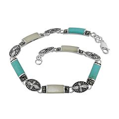 Sterling Silver Marcasite & Simulated Turquoise Bracelet