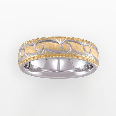 14k Gold Over Silver and Sterling Silver Diamond-Cut Band - Men