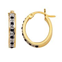 18k Gold-Over-Silver Sapphire Hoop Earrings